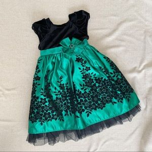 Jona Michelle Dresses - Black and Green Floral Party Dress